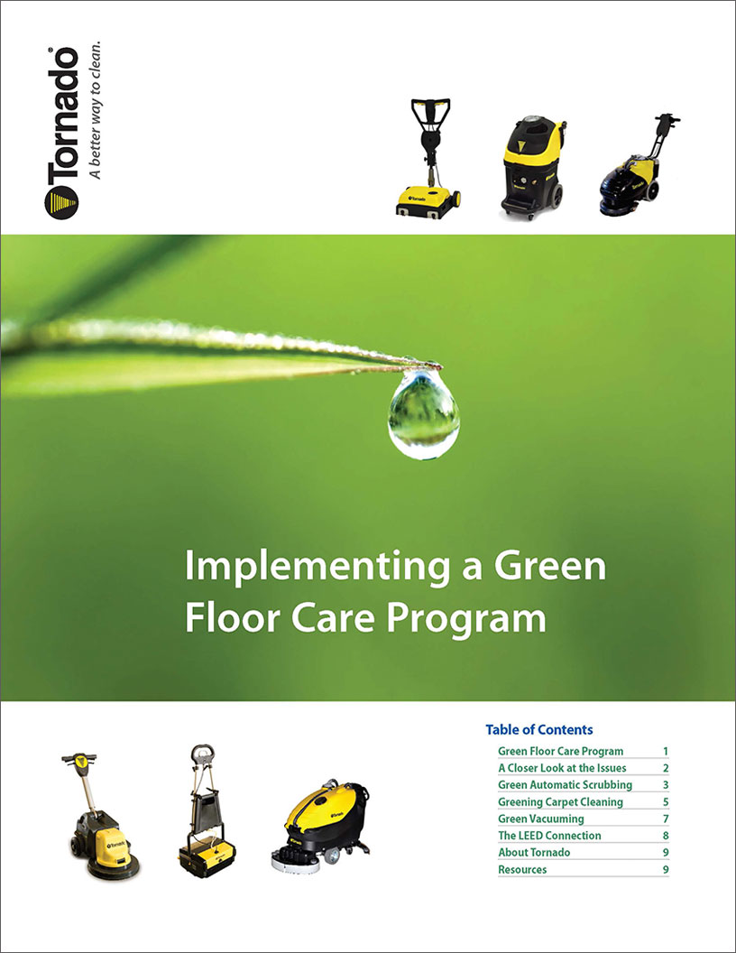 Cover photo implementing a green cleaning program.